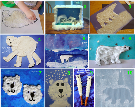 Polar bear art and craft ideas, kids art and craft, teaching kids endangered species